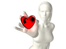 Glass heart gift 01. Porcelain girl giving a heart glass as gift Royalty Free Stock Image