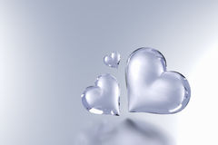 Glass Heart  on grey colour background Stock Photography
