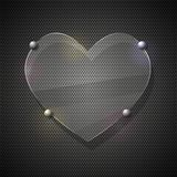 Glass heart on metal grid. Vector illustration Stock Photography