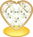Glass heart with orchids Royalty Free Stock Photo