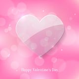 Glass Heart on Pink Bokeh Background Stock Photography