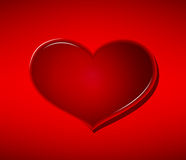 Glass heart on red background Valentine`s Day.  Stock Images