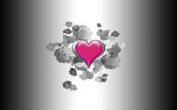 Glass Heart & Roses Stock Photo