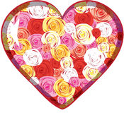 Glass heart with roses inside Stock Photos