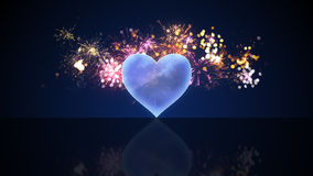 Glass heart shape and fireworks. Computer generated festive illustration Stock Photos