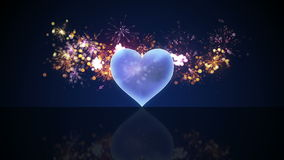 Glass heart shape and fireworks loop animation 4k (4096x2304) stock footage