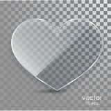 Glass heart on a transparent background. Flat glass. Love. A sign with a place for inscriptions. Transparent element design Vector Illustration