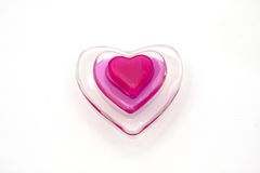 The glass heart for Valentine. The  pink glass heart (valentine Stock Photo
