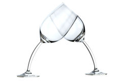 Glass heart on white. Image for advertising of wine and alcoholic drinks or a night club Stock Photo