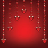Glass hearts. Valentines card with glass hearts royalty free illustration