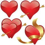 Glass Hearts. 2 - hearts set illustration as vectors Royalty Free Stock Photography