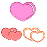 Glass hearts elements Royalty Free Stock Images