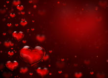 Glass hearts flying Stock Images