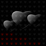 Glass hearts. Vector background with black glass hearts Stock Image