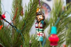 Glass hedgehog Christmas tree royalty free stock image