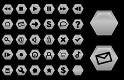 Glass hexagon buttons silver. Some grey glassy interface navigation buttons Stock Photography
