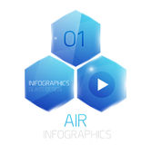 Glass hexagons infographics banner Royalty Free Stock Photography