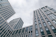 Glass, high rise buildings, taken from below. Office buildings royalty free stock photography