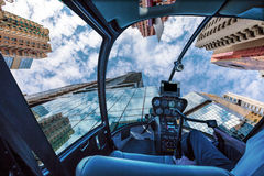 Glass high-rise Helicopter Stock Photography