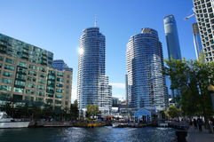 Glass highrises on Toronto waterfront. By the harbor stock photos