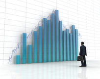 Glass histogram. 3d blue glass histogram and chart ,one business man on it Stock Image