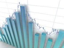 Glass histogram. 3d blue glass histogram and chart on white background Stock Photo