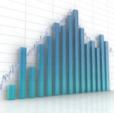 Glass histogram. 3d blue glass histogram and chart on white background Royalty Free Stock Images
