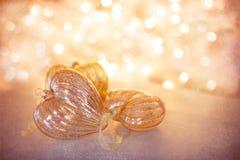 Glass hjärtastruntsaker för jul Royaltyfria Bilder
