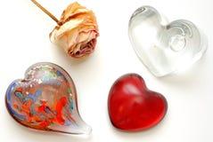 Glass hjärtor Royaltyfri Bild