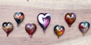 Glass hjärtor Fotografering för Bildbyråer