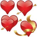 glass hjärtor stock illustrationer