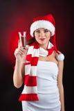 glass holdingkvinna för champagne Arkivfoton