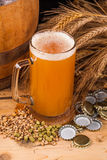 Glass of home made beer on table Royalty Free Stock Images