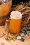 Glass of home made beer on table Royalty Free Stock Photography