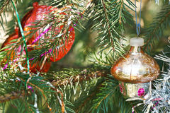 Glass home and red balls christmas decoration Stock Photography