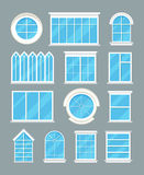 Glass home windows types vector flat icons Royalty Free Stock Photos