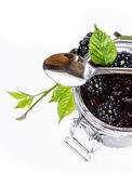 Glass with homemade Blackberry Jam on white Stock Photo