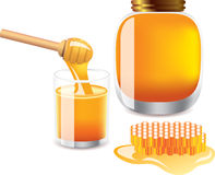 Glass of honey, bank of honey, honey dipper Royalty Free Stock Image