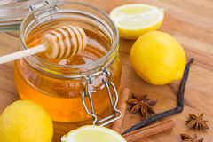 Honey in jar  and spices Stock Photo