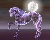 The Glass Horse - 01. Glass horse figure with moon against night sky Royalty Free Stock Images