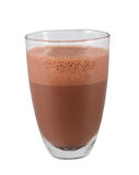 Glass of hot chocolate. Hot chocolate served in glass. Hot beverage. Stock Photos