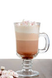 A glass of hot chocolate with marshmallows Royalty Free Stock Images