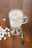 A glass of hot chocolate with marshmallows Stock Photography