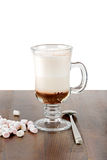 A glass of hot chocolate with marshmallows Royalty Free Stock Photography