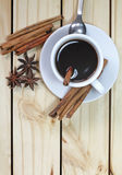 Glass of hot cinamon espresso Stock Images