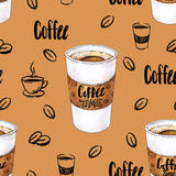 Glass of hot coffee on a brown background. Color drawing markers. Handwork sketch. Seamless pattern for design Royalty Free Stock Images