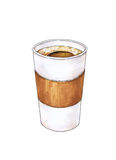 Glass of hot coffee is isolated on a white background. Color drawing markers. Handwork sketch. Vector cup coffee illustration Stock Image