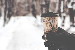 Glass with hot coffee in male hand outdoors. In winter Stock Photos