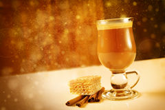 Glass of hot latte coffee Royalty Free Stock Images