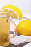 Glass with hot lemon tea Stock Image